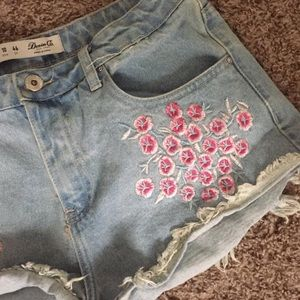 Pants - Light wash denim cut off cherry blossom shorts